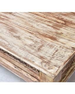 Konferenční stolek, ruční řezby, bílá patina, 150x75x52cm