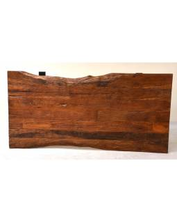 Stůl ze starých teakových fošen, kovové nohy, 200x98x88cm