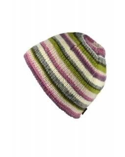 Čepice, vlna, podšívka, pruhy růžovo-šedo-zelené