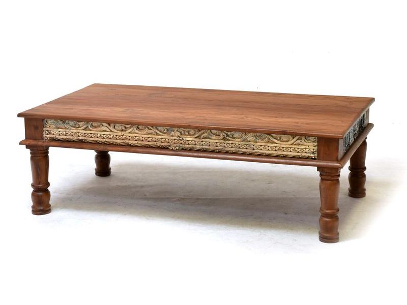 Konferenční stolek z teakového dřeva, ruční řezby, bílá patina, 140x76x45cm