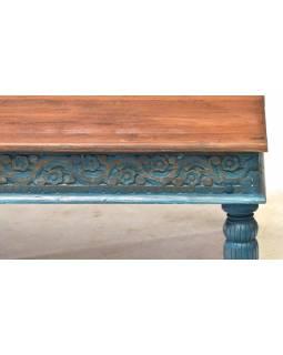 Konferenční stolek z teakového dřeva, ruční řezby, tyrkysová patina, 120x75x46cm