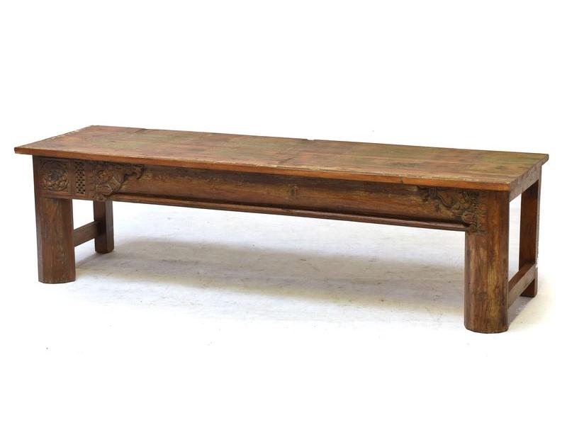 Konzolový stolek/lavice ze starého teakového dřeva, 164x48x46cm