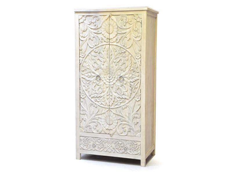 Vyřezávaná skříň bílá patina, mangové dřevo, ruční práce, 100x60x200cm