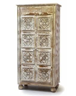 Šatní skříň z mangového dřeva, ruční řezby, 88x46x180cm