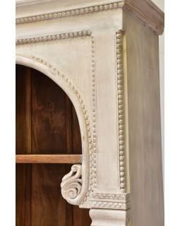Knihovna z mangového dřeva, ruční řezby, 114x45x208cm