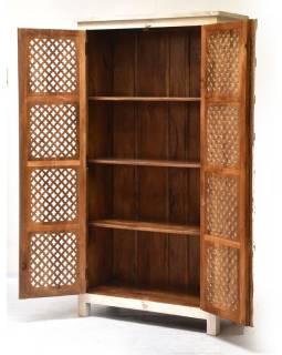 Šatní skříň z mangového dřeva, ruční řezby, 97x45x185cm