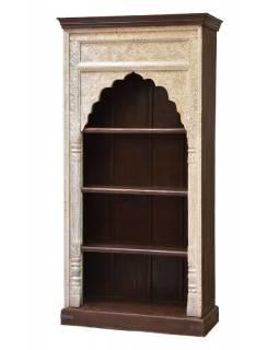 Knihovna z mangového dřeva, ruční řezby, 93x46x195cm