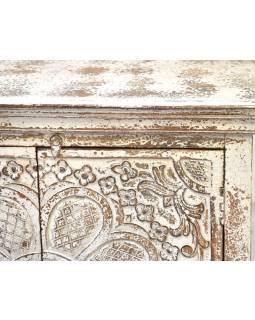 Komoda z teakového dřeva, bílá patina, 90x40x92cm