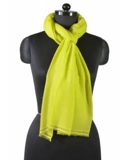Zářivě žlutá pašmína se zelenkavým nádechem, 100% kašmír, cca 75x220cm