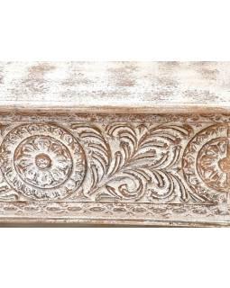 Truhla z teakového dřeva, zdobená ručními řezbami, 117x40x49cm