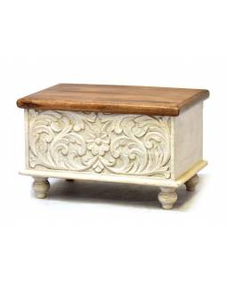 Truhla z teakového dřeva, bílá patina, 58x36x36cm