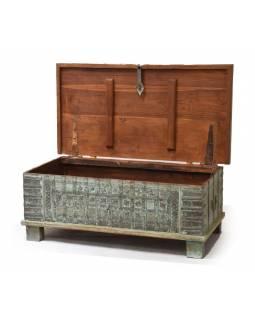 Truhla z teakového dřeva, zelená patina, 120x62x46cm