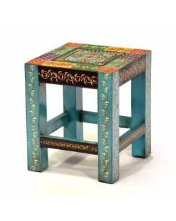 """Stolička z teakového dřeva, """"Moghul art"""", ručně malovaná, 25x25x30cm"""