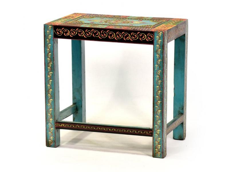 """Stolička z teakového dřeva, """"Moghul art"""", ručně malovaná, 47x32x46cm"""