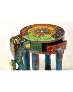 Stolička ve tvaru slona ručně malovaná, 40x30x37cm
