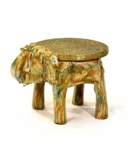 Stolička ve tvaru slona zdobená moszným kováním, 26x19x17cm