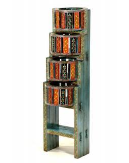 Stojan na kytky z mangového dřeva, ručně malovaný, skládací, 25x22x77cm