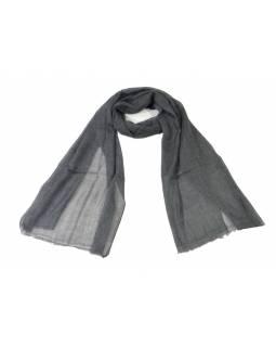 Přírodní tmavě šedá pašmína, 100% kašmír, cca 75x220cm