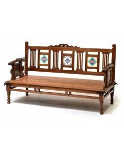 Lavička z teakového dřeva zdobená keramickými dlaždicemi, 141x60x83cm