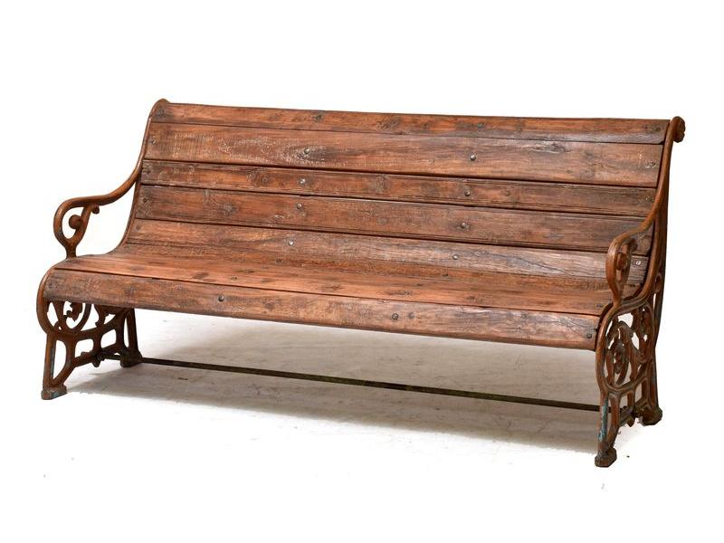 Lavička z teakového dřeva a litiny, 160x67x80cm