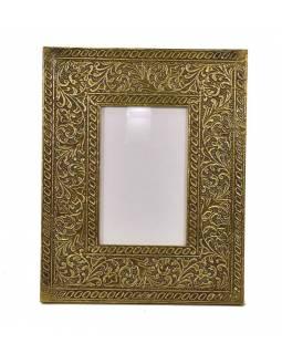 Dřevěný rámeček na fotografii, mosazné kování, 20x1x26cm