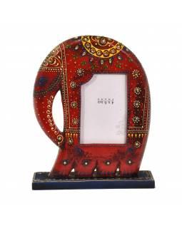 Ručně malovaný dřevěný rámeček na fotografii ve tvaru slona, vínová, 23x6x30cm