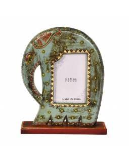 Ručně malovaný rámeček na fotografii ve tvaru slona, tyrkysový, 23x6x30cm