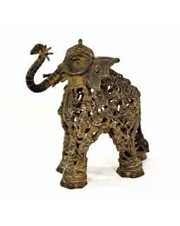 "Socha slona ""Tribal Art"", kov, 24x15x28cm"