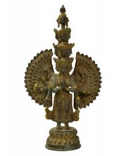 Avalokitešvara, mosazná soška, zelená patina, 21x10x39cm