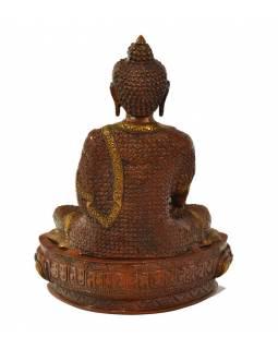 Buddha Šakjamuni, mosazná soška, měděná patina, 30x23x39cm