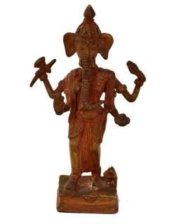 Stojící Ganéš, mosazná soška, měděná patina, 10x4x18cm