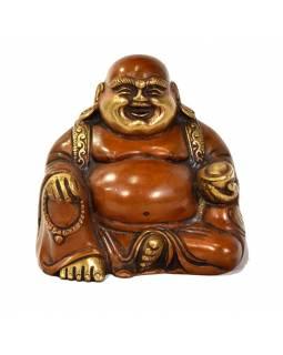 Smějící se Buddha, mosazná soška, měděná patina, 12x9x11cm