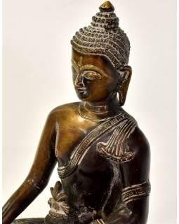 Buddha medicíny, mosazná soška, měděná patina, 18x13x25cm