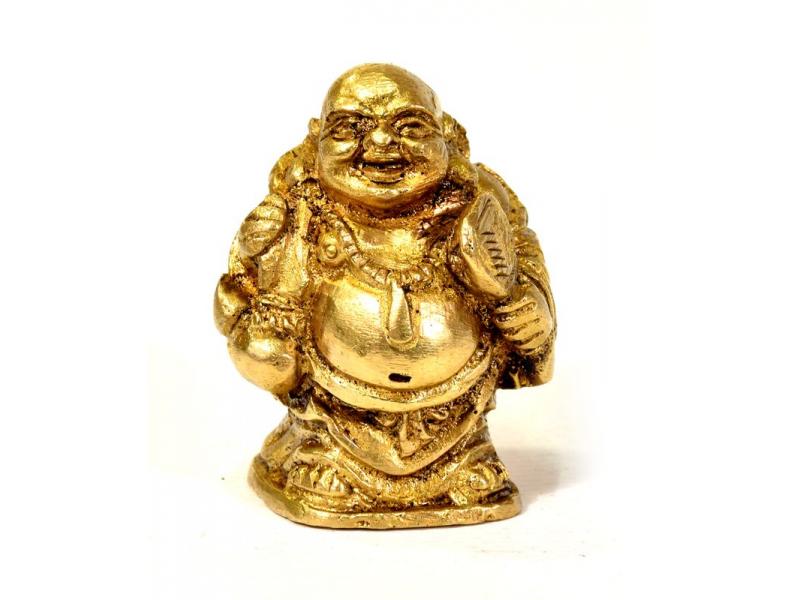 Smějící se Buddha, mosazná soška, zlatá úprava, 4cm