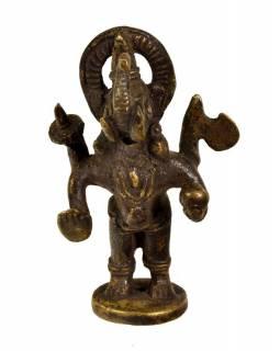 Ganeš, mosazná soška, tribal art, 8cm