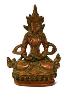 Buddha Amitajus, mosazná soška, měděná patina, 10x7x14cm