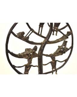 Strom života, mosazná soška, tribal art, 24x9x33cm