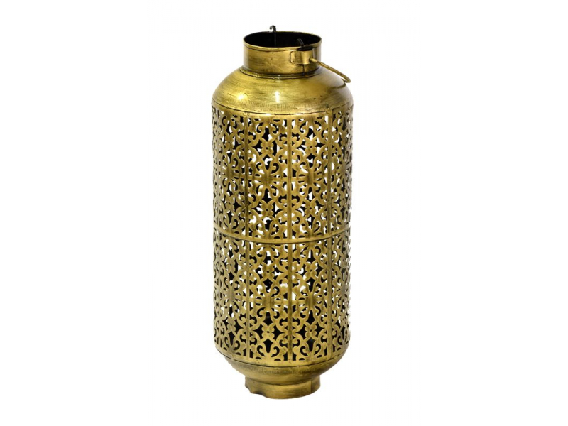 Závěsný svícen, ručně vyřezávaný a tepaný, mosazná patina, 18x18x48cm