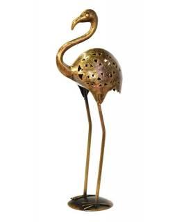 Svícen ve tvaru plameňáka, kov, mosazná patina, 24x14x60cm