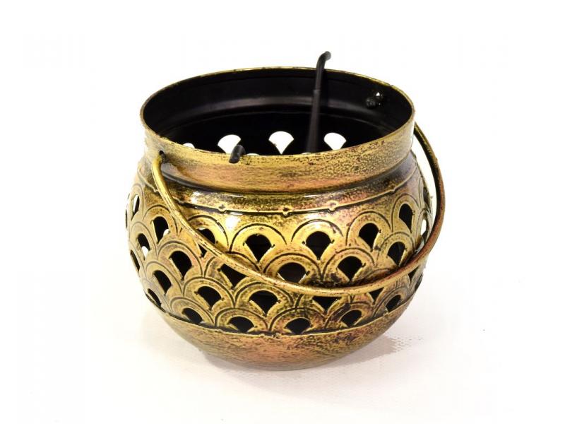 Kovový svícen, tepaný kov, ruční práce, 12x12x10cm