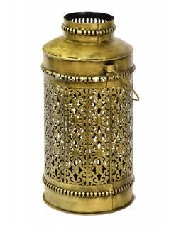 Světelná váza, kovová ručně tepaná, mosazná patina, 23x23x45cm