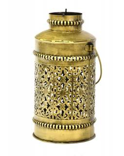 Světelná váza, kovová ručně tepaná, mosazná patina, 19x19x37cm