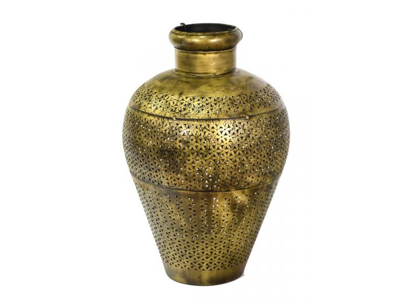 Světelná váza, kovová, ručně tepaná, mosazná patina, 40x40x60cm