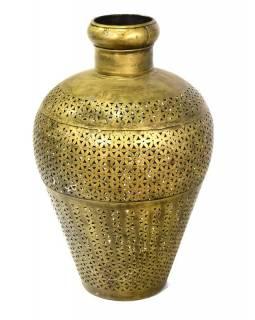 Světelná váza, kovová, ručně tepaná, mosazná patina, 35x35x55cm