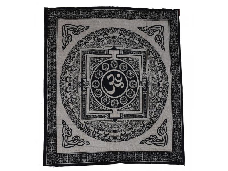 Béžový přehoz na postel, černý tisk, tibetská mandala, 205x240cm