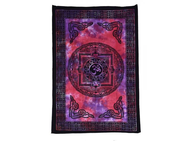 Přehoz přes postel s tibetskou mandalou, barevná batika, 140x200cm