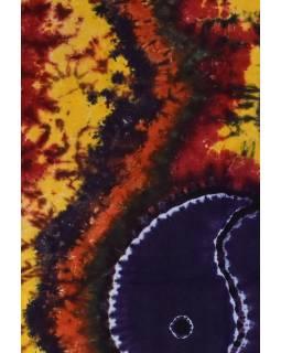 Přehoz na postel, Jin-Jang, barevná batika, 220x130cm