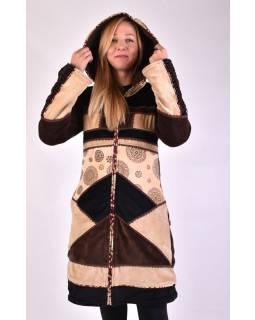 Hnědo béžový sametový kabátek s kapucí, patchwork a Chakra tisk, pletení