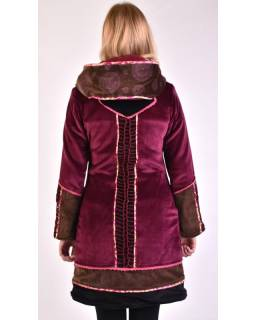 Růžovo-hnědý sametový kabátek s kapucí, patchwork a Chakra tisk, pletení