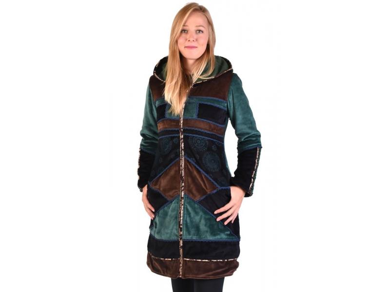 Smaragdovo-hnědý sametový kabátek s kapucí, patchwork a Chakra tisk
